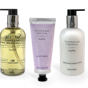Tipperary Crystal Hand Cream & Wash Set, Sweet Pea