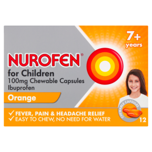 Nurofen for Children 100mg Chewable Capsules Orange 12 Chewable Capsules