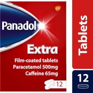 Panadol Extra Pain Relief Tablets Paracetamol Caffeine 500mg/65mg 12s