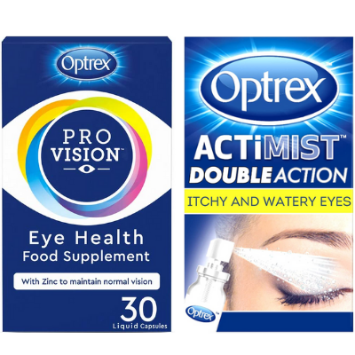 Optrex Actimist 2in1 Itchy & Watery Eye Spray + ProVision Capsules 30s Bundle