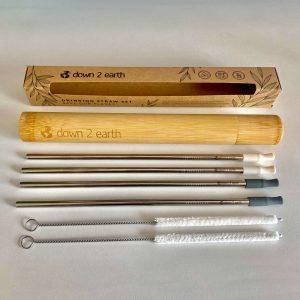 Reusable Bamboo Drinking Straws Set