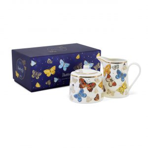 Tipperary Crystal Butterfly Sugar Bowl and Creamer