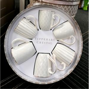 Tipperary Crystal 6 Grey Stripe mug set