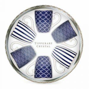 Tipperary Crystal 6 blue stripe,net and rainbow mug set